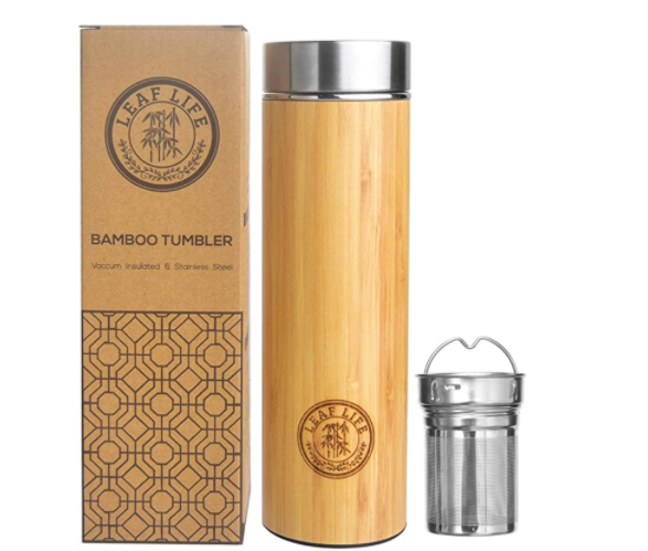 bamboo tumbler with tea infuser from Leaf Life brand